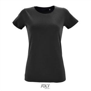Dames T-shirt met O-Hals Deep Black