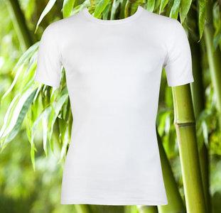 Boru Bamboe heren T-shirt Korte Mouw Wit