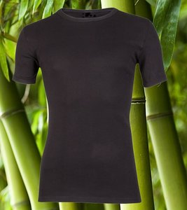 Boru bamboe heren T-shirt Korte Mouw Zwart