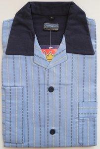Gentlemen Heren Flanellen Pyjama jas lichtblauw met blauwe print