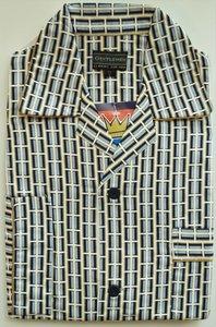 Gentlemen Heren Flanellen Pyjama jas wit met blauw print