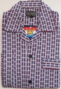 Gentlemen Heren Flanellen Pyjama jas blauw met rood print