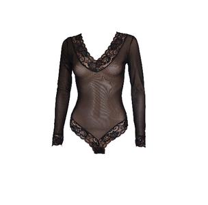 Transparante dames body L.M. slipmodel Zwart