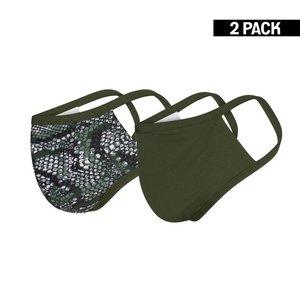 Beeren Dames 2-Pack mondkapjes Snake/Donkergroen maat S