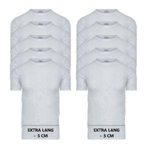 Beeren 10-Pack extra lange heren T-shirts met O-Hals M3000 Wit