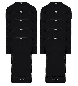 Beeren 10-Pack extra lange heren T-shirts met V-Hals M3000 Zwart