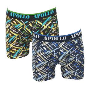 """Apollo 2-Pack Heren boxershorts """"Flits"""" Zwart/Marine"""
