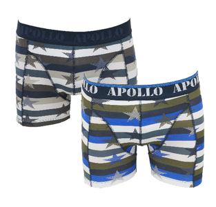 """Apollo 2-Pack Heren boxershorts """"All Stars"""" Bruin/Blauw"""