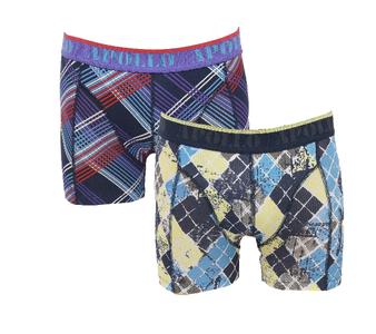 """Apollo 2-Pack Heren boxershorts """"Diagonaal"""" Geel/Paars"""
