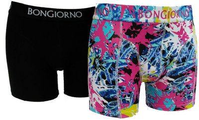 Bon Giorno 2-pack heren boxershorts zwart/kleur