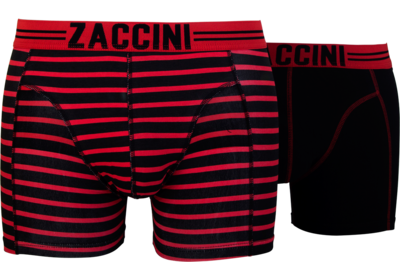 Zaccini 2-pack Heren boxershorts Stripe Black/Red