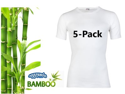 5-Pack Boru Bamboe heren T-shirt Korte Mouw Wit