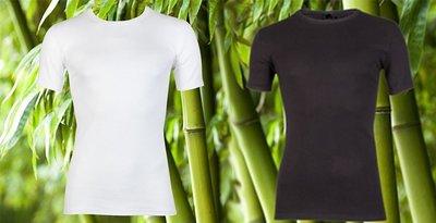 Duo Pack Beeren Bamboe heren T-shirts Korte Mouw Wit/Zwart
